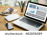 online advertising laptop on... | Shutterstock . vector #482858389