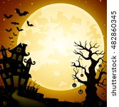 halloween haunted castle with... | Shutterstock . vector #482860345