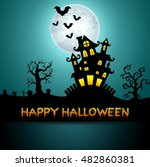 halloween night background with ... | Shutterstock .eps vector #482860381
