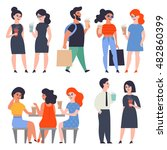 set of stylish flat characters. ... | Shutterstock .eps vector #482860399