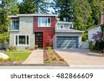 modern house with wood trim... | Shutterstock . vector #482866609