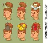 vector set of cartoon images of ... | Shutterstock .eps vector #482880859