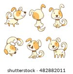 Stock vector cute cartoon dogs set six little puppies in different poses funny animals vector colorful 482882011