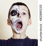 little cute boy with facepaint...   Shutterstock . vector #482889235