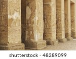 """The ancient columns of the temple in """"Abydos"""" in Egypt - stock photo"""