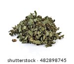 Small photo of Dry adhatoda vasica or medicinal Basak leaf isolated on white.