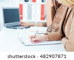 mid section of a secretary... | Shutterstock . vector #482907871