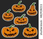 set halloween scary pumpkin... | Shutterstock .eps vector #482928211