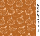 seamless pattern with onions.... | Shutterstock .eps vector #482930245