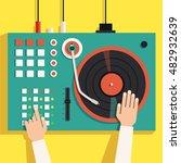 turntable with dj hands. vector ... | Shutterstock .eps vector #482932639