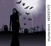 halloween background with woman ... | Shutterstock . vector #482937475