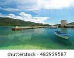 blue boat in the port in mali... | Shutterstock . vector #482939587