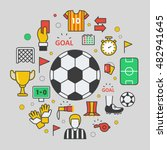 football soccer line art thin... | Shutterstock .eps vector #482941645