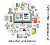 education and science line art... | Shutterstock .eps vector #482941651