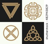 set of ancient symbols executed ... | Shutterstock .eps vector #482943829