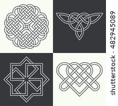 set of ancient symbols executed ... | Shutterstock .eps vector #482945089