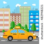 urban cityscape with taxi cab.... | Shutterstock .eps vector #482948221