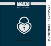lock icon vector. love. heart | Shutterstock .eps vector #482949214