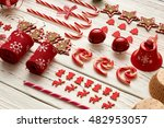 christmas decoration on wooden...   Shutterstock . vector #482953057