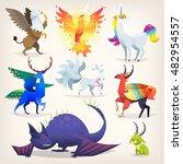 set of colorful mythological... | Shutterstock .eps vector #482954557