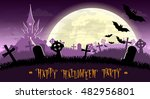 halloween background. monsters... | Shutterstock .eps vector #482956801
