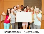 motivated group with white sign ... | Shutterstock . vector #482963287
