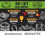 sport bar menu placemat food... | Shutterstock .eps vector #482965759