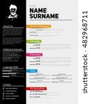 minimalist cv  resume template...   Shutterstock .eps vector #482968711