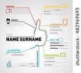 minimalist cv  resume template...   Shutterstock .eps vector #482969695