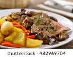 roast beef with potatoes and... | Shutterstock . vector #482969704