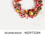 christmas wreath of gifts  fir... | Shutterstock . vector #482972284