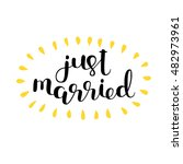 just married. brush hand... | Shutterstock .eps vector #482973961
