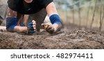 mud race runners.crawling... | Shutterstock . vector #482974411
