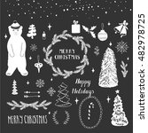 collection of handdrawn winter...   Shutterstock .eps vector #482978725