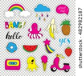 set fashion patch badges. hand... | Shutterstock .eps vector #482982187