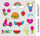 set fashion patch badges. hand... | Shutterstock .eps vector #482982277