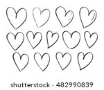 set of hand drawn hearts.... | Shutterstock .eps vector #482990839