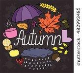 autumn set vector doodle sketch.... | Shutterstock .eps vector #482993485
