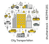 city transportation line art... | Shutterstock .eps vector #482994181