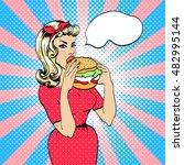 Girl Eating Hamburger. Retro...