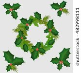 Christmas Wreath Of Holly And...