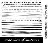 Hand lines - real markers. Different lines - straight, wavy, interrupt, dotted, thick, thin... Black. Vector set. Isolated on white background. Eps 10