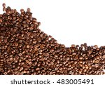 coffee beans isolated on white... | Shutterstock . vector #483005491