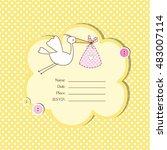 cute baby shower invitation... | Shutterstock .eps vector #483007114