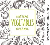 natural organic vegetables card.... | Shutterstock .eps vector #483007819