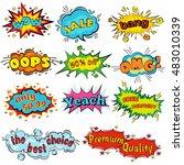 wow comic sound effects in pop... | Shutterstock .eps vector #483010339
