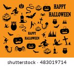 happy halloween background with ... | Shutterstock .eps vector #483019714