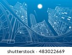 big bridge  night city on... | Shutterstock .eps vector #483022669