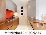 modern gourmet kitchen interior    Shutterstock . vector #483026419