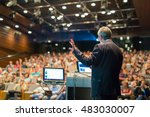 speaker giving a talk on... | Shutterstock . vector #483030007
